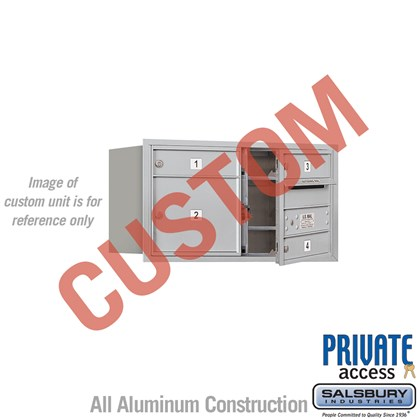 Recessed Mounted 4C Horizontal Mailbox - 4 Door High Unit (16 1/2 Inches) - Double Column - Custom - Front Loading - Private Access