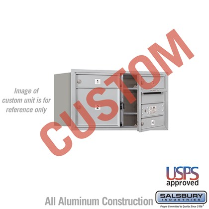 Custom Recessed Mounted 4C Horizontal Mailbox - 4 Door High Unit (16 1/2 Inches) - Double Column - Custom - Front Loading - USPS Access