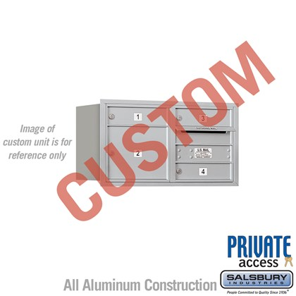 Custom Recessed Mounted 4C Horizontal Mailbox - 4 Door High Unit (16 1/2 Inches) - Double Column - Custom - Rear Loading - Private Access