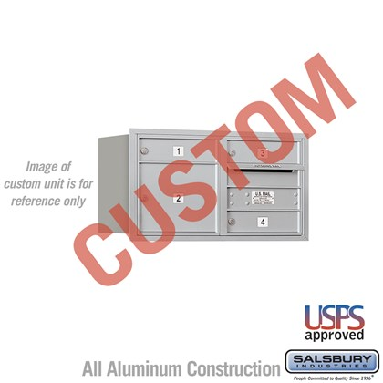 Custom Recessed Mounted 4C Horizontal Mailbox - 4 Door High Unit (16 1/2 Inches) - Double Column - Custom - Rear Loading - USPS Access
