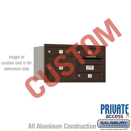 Recessed Mounted 4C Horizontal Mailbox - 4 Door High Unit (16 1/2 Inches) - Double Column - Custom Unit - Bronze - Rear Loading - Private Access