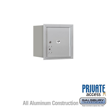 Recessed Mounted 4C Horizontal Mailbox (Includes Master Commercial Lock) - 4 Door High Unit (16 1/2 Inches) - Single Column - Stand-Alone Parcel Locker - 1 PL4 - Rear Loading - Private Access