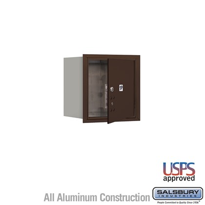 Recessed Mounted 4C Horizontal Mailbox - 4 Door High Unit (16 1/2 Inches) - Single Column - Stand-Alone Parcel Locker - 1 PL4 - Bronze - Front Loading - USPS Access