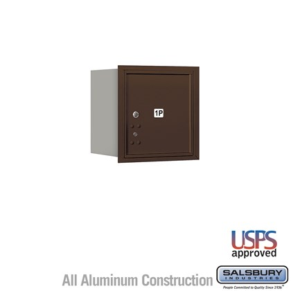 Recessed Mounted 4C Horizontal Mailbox - 4 Door High Unit (16 1/2 Inches) - Single Column - Stand-Alone Parcel Locker - 1 PL4 - Bronze - Rear Loading - USPS Access