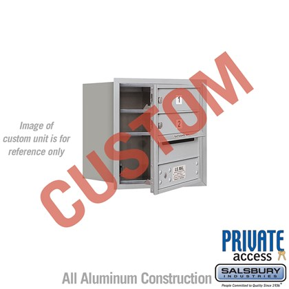 Recessed Mounted 4C Horizontal Mailbox - 4 Door High Unit (16 1/2 Inches) - Single Column - Custom - Front Loading - Private Access