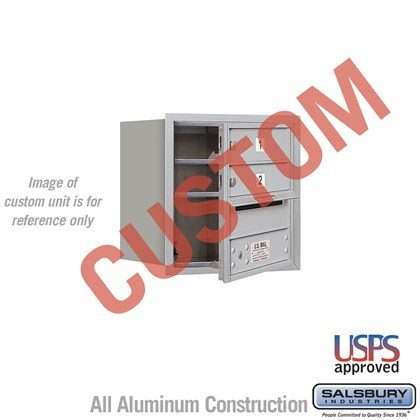 Custom Recessed Mounted 4C Horizontal Mailbox - 4 Door High Unit (16 1/2 Inches) - Single Column - Custom - Front Loading - USPS Access