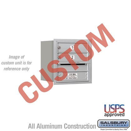 Custom Recessed Mounted 4C Horizontal Mailbox - 4 Door High Unit (16 1/2 Inches) - Single Column - Custom - Rear Loading - USPS Access