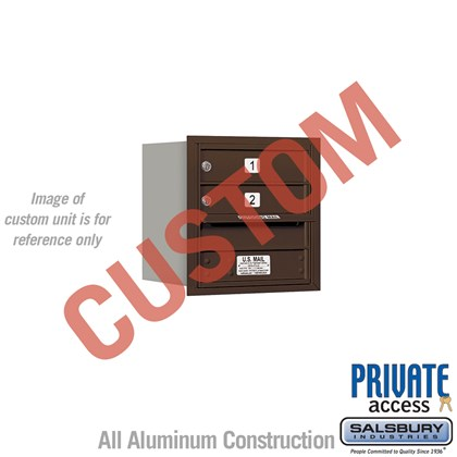 Recessed Mounted 4C Horizontal Mailbox - 4 Door High Unit (16 1/2 Inches) - Single Column - Custom Unit - Bronze - Rear Loading - Private Access