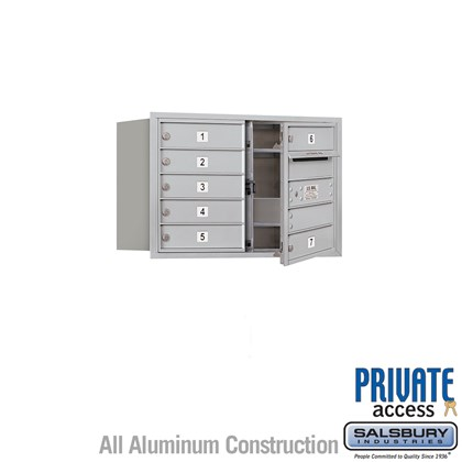 Recessed Mounted 4C Horizontal Mailbox (Includes Master Commercial Lock) - 5 Door High Unit (20 Inches) - Double Column - 7 MB1 Doors - Front Loading - Private Access