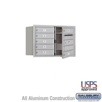 Recessed Mounted 4C Horizontal Mailbox - 5 Door High Unit (20 Inches) - Double Column - 7 MB1 Doors - Front Loading - USPS Access