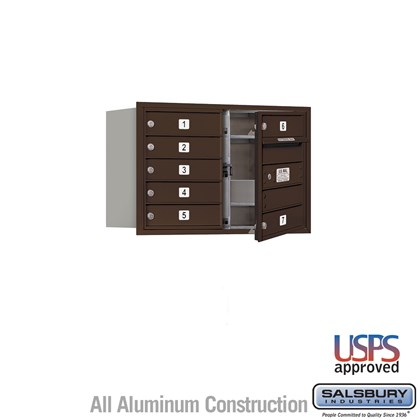 Recessed Mounted 4C Horizontal Mailbox - 5 Door High Unit (20 Inches) - Double Column - 7 MB1 Doors - Bronze - Front Loading - USPS Access