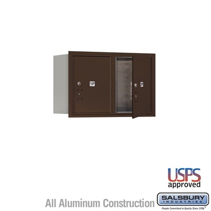 Recessed Mounted 4C Horizontal Mailbox - 5 Door High Unit (20 Inches) - Double Column - Stand-Alone Parcel Locker - 2 PL5's - Bronze - Front Loading - USPS Access