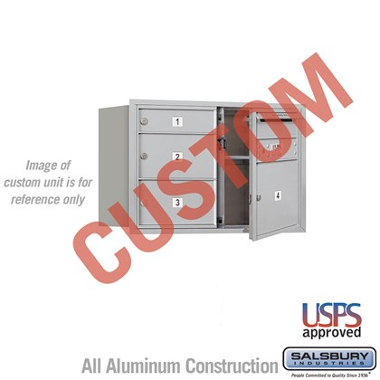 Custom Recessed Mounted 4C Horizontal Mailbox - 5 Door High Unit (20 Inches) - Double Column - Custom - Front Loading - USPS Access