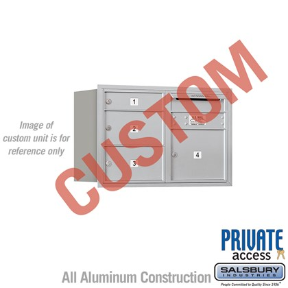 Recessed Mounted 4C Horizontal Mailbox - 5 Door High Unit (20 Inches) - Double Column - Custom - Rear Loading - Private Access
