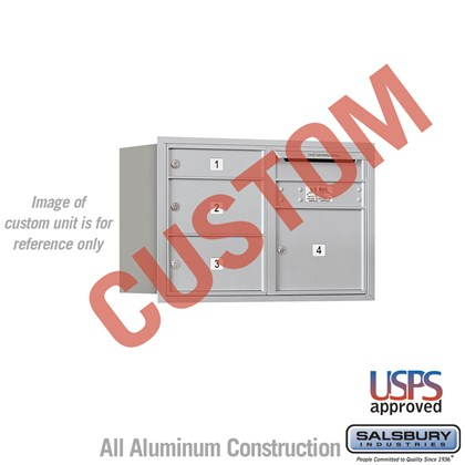 Custom Recessed Mounted 4C Horizontal Mailbox - 5 Door High Unit (20 Inches) - Double Column - Custom - Rear Loading - USPS Access