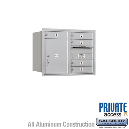 Recessed Mounted 4C Horizontal Mailbox (Includes Master Commercial Locks) - 6 Door High Unit (23-1/2 Inches) - Double Column - 5 MB1 Doors / 1 PL5 - Rear Loading - Private Access