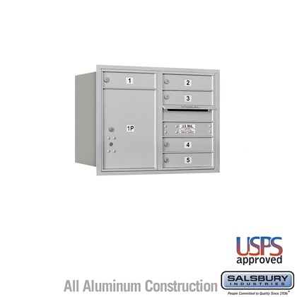 Recessed Mounted 4C Horizontal Mailbox - 6 Door High Unit (23 7/8 Inches) - Double Column - 5 MB1 Doors / 1 PL5 - Rear Loading - USPS Access