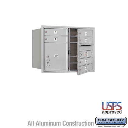 Recessed Mounted 4C Horizontal Mailbox - 6 Door High Unit (23 1/2 Inches) - Double Column - 6 MB1 Doors / 1 PL4 - Aluminum - Front Loading - USPS Access