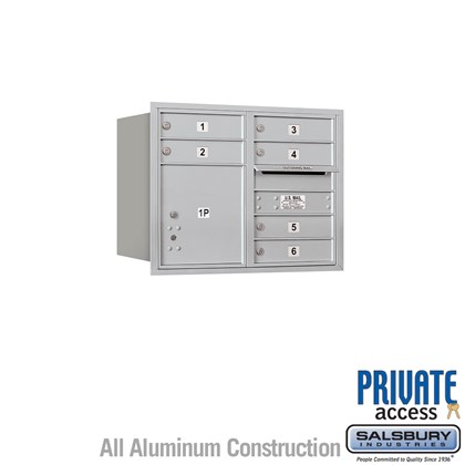 Recessed Mounted 4C Horizontal Mailbox (Includes Master Commercial Locks) - 6 Door High Unit (23 1/2 Inches) - Double Column - 6 MB1 Doors / 1 PL4 - Rear Loading - Private Access