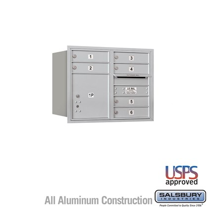Recessed Mounted 4C Horizontal Mailbox - 6 Door High Unit (23 1/2 Inches) - Double Column - 6 MB1 Doors / 1 PL4 - Aluminum - Rear Loading - USPS Access