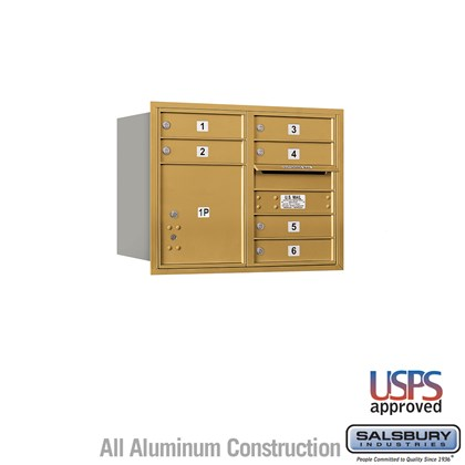 Recessed Mounted 4C Horizontal Mailbox - 6 Door High Unit (23 1/2 Inches) - Double Column - 6 MB1 Doors / 1 PL4 - Gold - Rear Loading - USPS Access