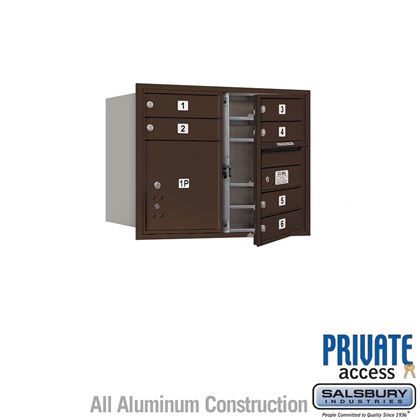 Recessed Mounted 4C Horizontal Mailbox (Includes Master Commercial Locks) - 6 Door High Unit (23 1/2 Inches) - Double Column - 6 MB1 Doors / 1 PL4 - Bronze - Front Loading - Private Access