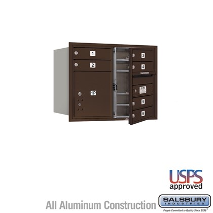 Recessed Mounted 4C Horizontal Mailbox - 6 Door High Unit (23 1/2 Inches) - Double Column - 6 MB1 Doors / 1 PL4 - Bronze - Front Loading - USPS Access