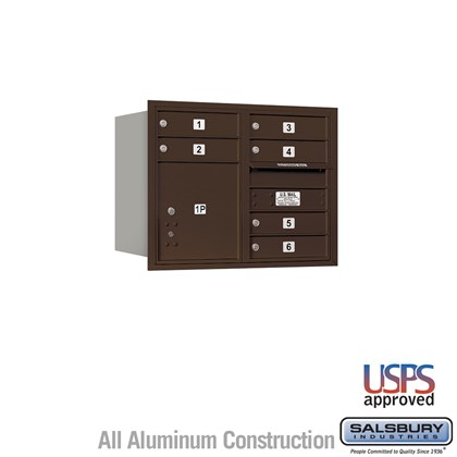 Recessed Mounted 4C Horizontal Mailbox - 6 Door High Unit (23 1/2 Inches) - Double Column - 6 MB1 Doors / 1 PL4 - Bronze - Rear Loading - USPS Access