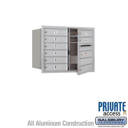 Recessed Mounted 4C Horizontal Mailbox (Includes Master Commercial Lock) - 6 Door High Unit (23 7/8 Inches) - Double Column - 9 MB1 Doors - Front Loading - Private Access