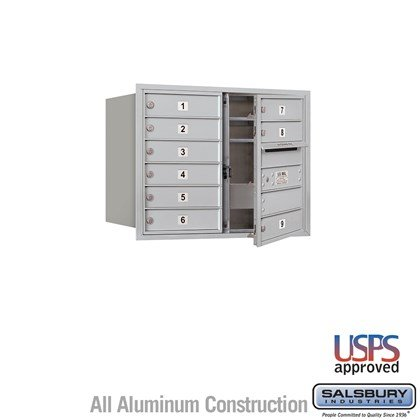 Recessed Mounted 4C Horizontal Mailbox - 6 Door High Unit (23 7/8 Inches) - Double Column - 9 MB1 Doors - Front Loading - USPS Access