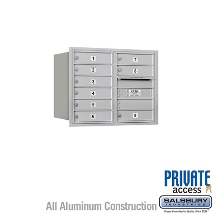 Recessed Mounted 4C Horizontal Mailbox - 6 Door High Unit (23 1/2 Inches) - Double Column - 9 MB1 Doors - Rear Loading - Private Access
