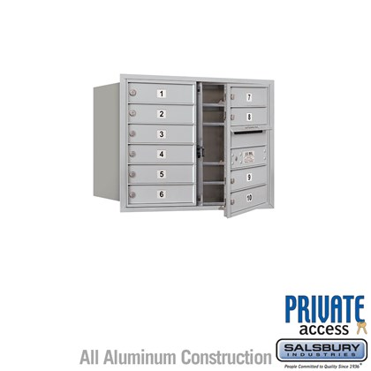 Recessed Mounted 4C Horizontal Mailbox (Includes Master Commercial Lock) - 6 Door High Unit (23 7/8 Inches) - Double Column - 10 MB1 Doors - Front Loading - Private Access
