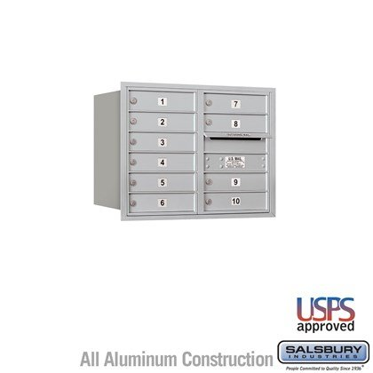 Recessed Mounted 4C Horizontal Mailbox - 6 Door High Unit (23 7/8 Inches) - Double Column - 10 MB1 Doors - Rear Loading - USPS Access