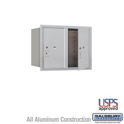 Recessed Mounted 4C Horizontal Mailbox - 6 Door High Unit (23 1/2 Inches) - Double Column - Stand-Alone Parcel Locker - 2 PL6's - Front Loading - USPS Access