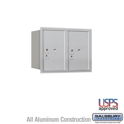 Recessed Mounted 4C Horizontal Mailbox - 6 Door High Unit (23 7/8 Inches) - Double Column - Stand-Alone Parcel Locker - 2 PL6's - Rear Loading - USPS Access