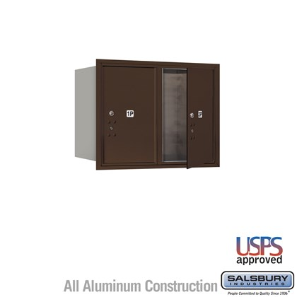 Recessed Mounted 4C Horizontal Mailbox - 6 Door High Unit (23 1/2 Inches) - Double Column - Stand-Alone Parcel Locker - 2 PL6's - Bronze - Front Loading - USPS Access