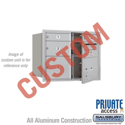 Recessed Mounted 4C Horizontal Mailbox - 6 Door High Unit (23 1/2 Inches) - Double Column - Custom - Front Loading - Private Access