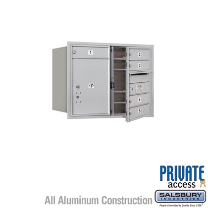Recessed Mounted 4C Horizontal Mailbox (Includes Master Commercial Locks) - 6 Door High Unit (23 1/2 Inches) - Double Column - 5 MB1 Doors / 1 PL5 - Front Loading - Private Access