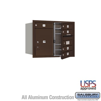 Recessed Mounted 4C Horizontal Mailbox - 6 Door High Unit (23 1/2 Inches) - Double Column - 5 MB1 Doors / 1 PL5 - Bronze - Front Loading - USPS Access