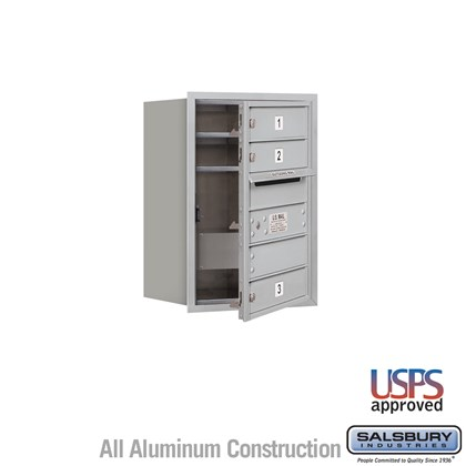 Recessed Mounted 4C Horizontal Mailbox - 6 Door High Unit (23-7/8 Inches) - Single Column - 3 MB1 Doors - Front Loading - USPS Access