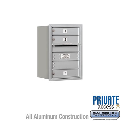 Recessed Mounted 4C Horizontal Mailbox (includes Master Commercial Locks) - 6 Door High Unit (23-1/2 Inches) - Single Column - 3 MB1 Doors - Rear Loading - Private Access