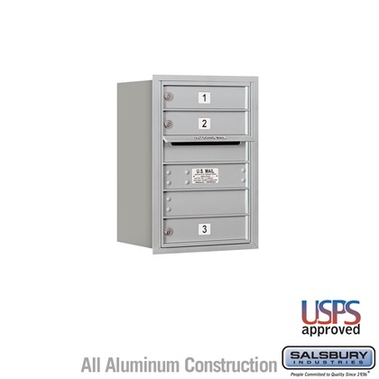 Recessed Mounted 4C Horizontal Mailbox - 6 Door High Unit (23-7/8 Inches) - Single Column - 3 MB1 Doors - Rear Loading - USPS Access