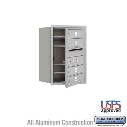 Recessed Mounted 4C Horizontal Mailbox - 6 Door High Unit (23 7/8 Inches) - Single Column - 4 MB1 Doors - Front Loading - USPS Access