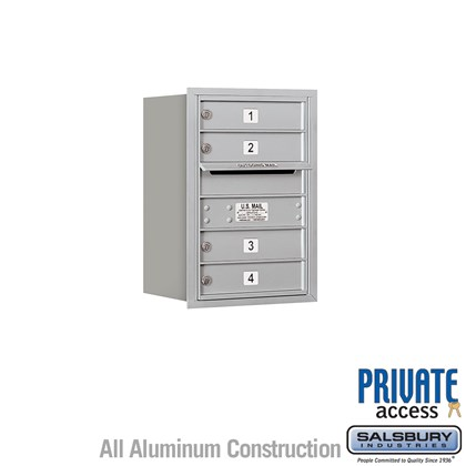 Recessed Mounted 4C Horizontal Mailbox - 6 Door High Unit (23 1/2 Inches) - Single Column - 4 MB1 Doors - Rear Loading - Private Access
