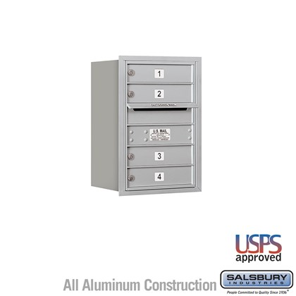 Recessed Mounted 4C Horizontal Mailbox - 6 Door High Unit (23 7/8 Inches) - Single Column - 4 MB1 Doors - Rear Loading - USPS Access