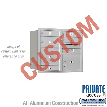 Custom Recessed Mounted 4C Horizontal Mailbox - 7 Door High Unit (27 Inches) - Double Column - Custom - Rear Loading - Private Access