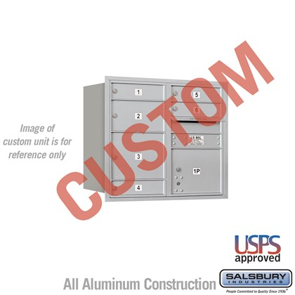 Custom Recessed Mounted 4C Horizontal Mailbox - 7 Door High Unit (27 Inches) - Double Column - Custom - Rear Loading - USPS Access