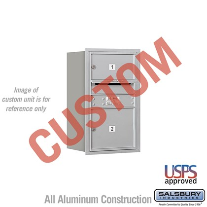 Custom Recessed Mounted 4C Horizontal Mailbox - 7 Door High Unit (27 Inches) - Single Column - Custom - Rear Loading - USPS Access