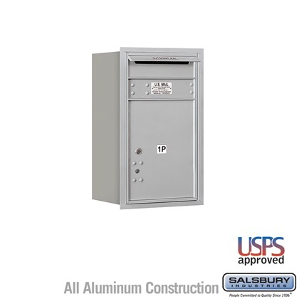 Custom Recessed Mounted 4C Horizontal Mailbox - 7 Door High Unit (27 Inches) - Single Column - Stand-Alone Parcel Locker - 1 PL5 with Outgoing Mail Compartment - Rear Loading - USPS Access
