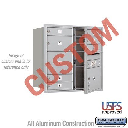 Custom Recessed Mounted 4C Horizontal Mailbox - 8 Door High Unit (30 1/2 Inches) - Double Column - Custom - Front Loading - USPS Access